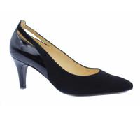 Модельные туфли Peter Kaiser замшевые черные с деталями из лакированной кожи