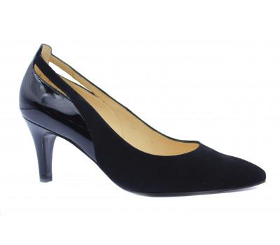 Модельные туфли Peter Kaiser замшевые черные с деталями из лакированной кожи 77555-554