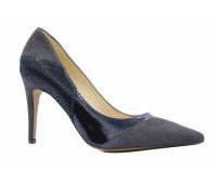 Модельные туфли Peter Kaiser замшевые серые с деталями из лакированной кожи черного цвета