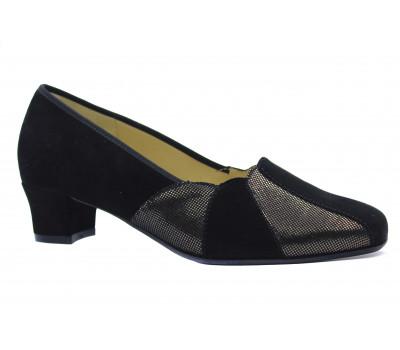 Туфли Hassia черные замшевые с отделкой из крека 2-303052