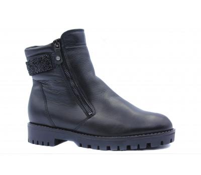 Ботильоны зимние Ara кожаные черные 16228-61