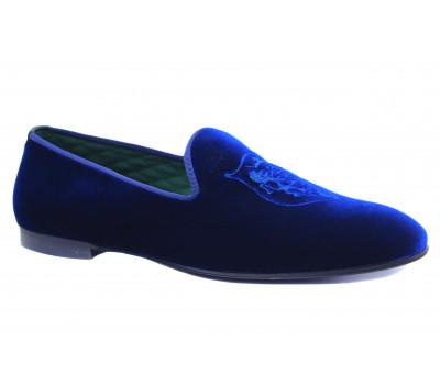 Мужские слиперы ROMIT из бархата синего цвета 10458