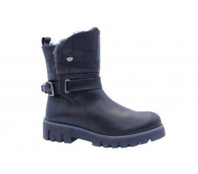 Зимние полусапоги Dockers кожаные черные 660103