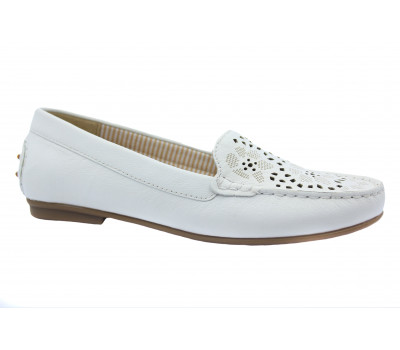 Мокасины Gabor белые кожаные 44203