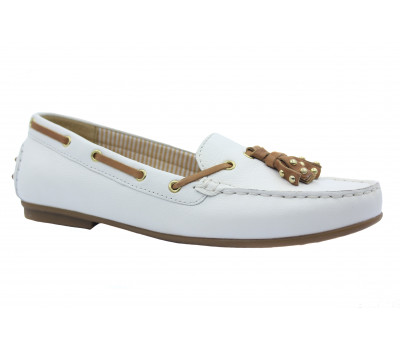 Мокасины Gabor белые кожаные  44202