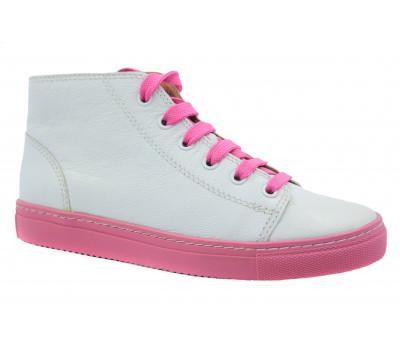 Кеды Gabor бело-розовые кожаные 63180