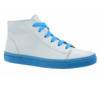 Кеды Gabor бело-голубые кожаные