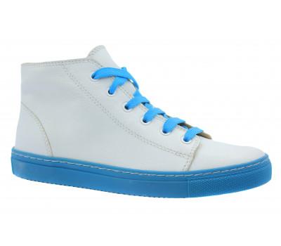 Кеды Gabor бело-голубые кожаные 63180