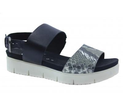Босоножки Gabor черно-серые кожаные 42701