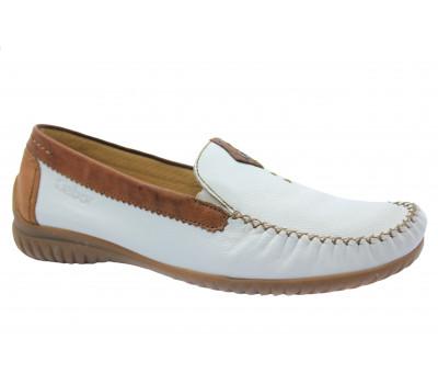 Мокасины Gabor белые кожаные 66090.51
