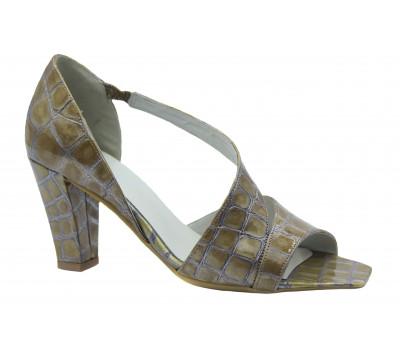 Модельные туфли Hogl из лакированной кожи серо-бежевые 7-107619