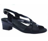 Босоножки Meisi черные из крека и лакированной кожи