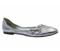 Балетки K&S кожаные серебряные