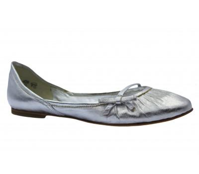 Балетки K&S кожаные серебряные 13130-114