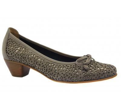 Туфли Gabor из нубука серо-бежевые 41400.12