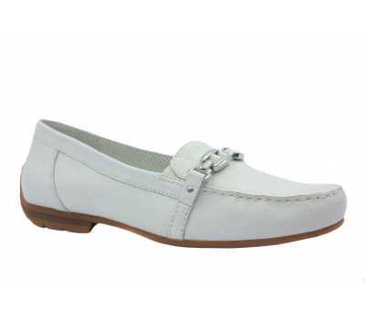 Мокасины Gabor белые кожаные 82664