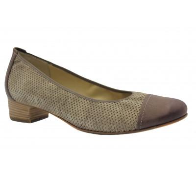 Туфли Hassia бежево-коричневые из крека 3-303478