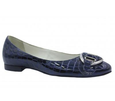 Балетки Hogl из лакированной кожи темно-синие 5-101019