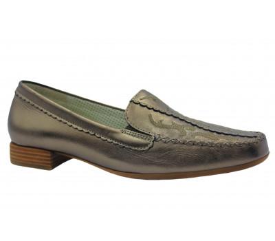 Мокасины Gabor серебряные кожаные 86323