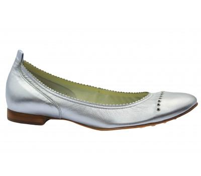 Балетки Hogl серебряные кожаные  5-101061