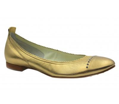 Балетки Hogl золотые кожаные  5-101061