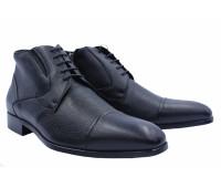 Ботинки ROMIT на кашемире кожаные черные