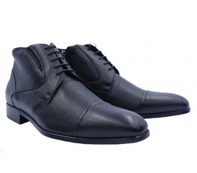 Ботинки ROMIT на кашемире кожаные черные 10769-1