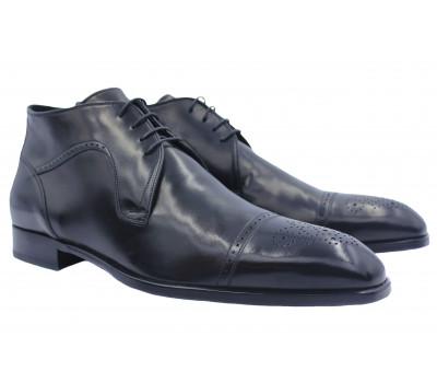 Зимние ботинки ALBA кожаные черные  9592