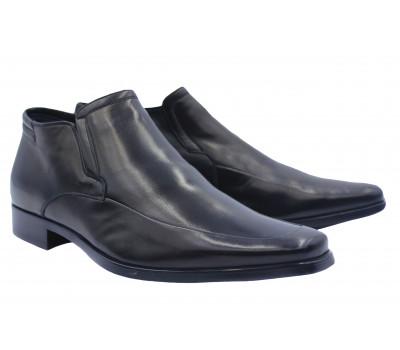 Зимние полусапоги ALBA кожаные черные 8486