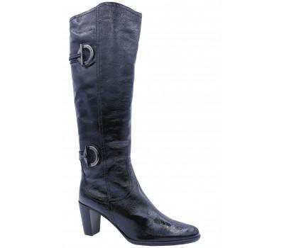 Зимние сапоги  K&S из лакированной кожи черные 70550-400