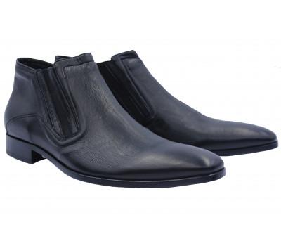 Полусапоги ROMIT на кашемире кожаные черные 10216
