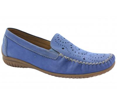 Мокасины Gabor голубые из нубука 86094