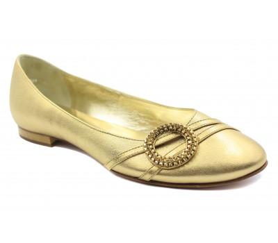 Балетки Hogl золотые кожаные  5-101091