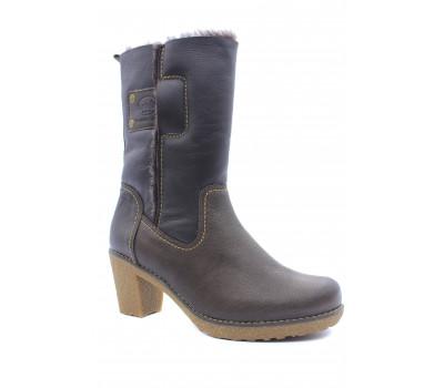 Зимние полусапоги Dockers кожаные коричневые  1421301