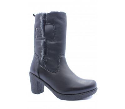 Зимние полусапоги Dockers кожаные черные 1421301