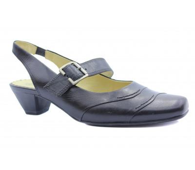 Босоножки Caprice черные кожаные 29507-24
