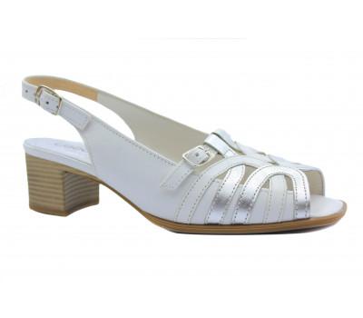 Босоножки Gabor белые кожаные 62067