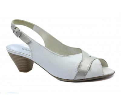 Босоножки Gabor белые кожаные 86583