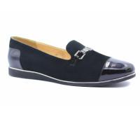 Демисезонные туфли  Tuffoni замшевые черные с деталями из лакированной кожи