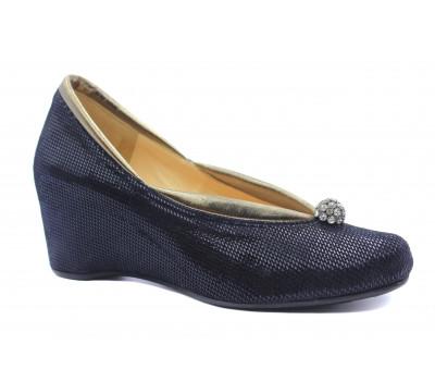 Туфли осенние Tuffoni из крека темно-синие 672
