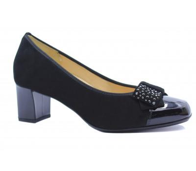 Модельные туфли Hassia замшевые черные с деталями  из лакированной кожи 9-305332