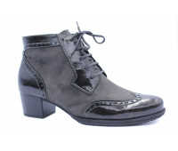 Демисезонные ботинки Gabor серые замшевые с деталями из лакированной кожи