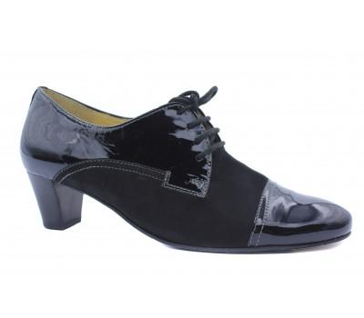Демисезонные туфли Hassia замшевые черные с деталями из лакированной кожи 6-304684