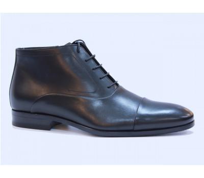 Ботинки ROMIT на кашемире кожаные черные 14091