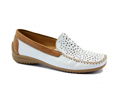 Мокасины Gabor белые кожаные 26094.50