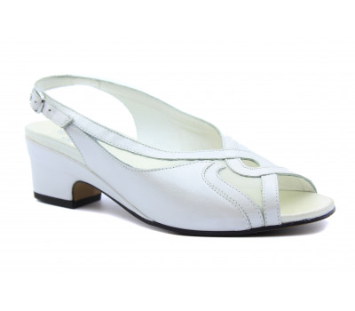 Босоножки Meisi белые кожаные 15004