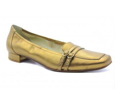 Балетки Hogl золотые кожаные  3-102031