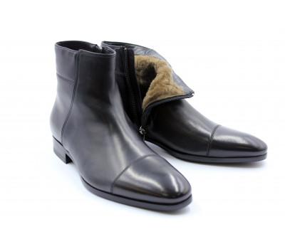 Зимние сапоги ROMIT кожаные черные 12556