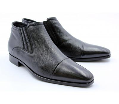 Зимние полусапоги ROMIT кожаные черные 10785